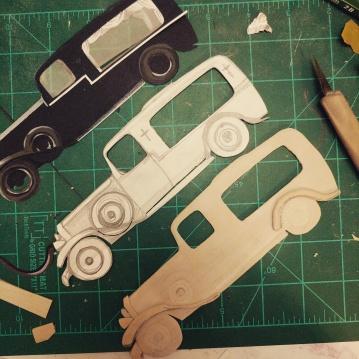 Top: paper model. Center: original sketch. Bottom: wooden model before paint.